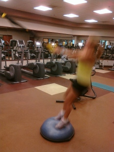 TRX Jump Squats on the BOSU