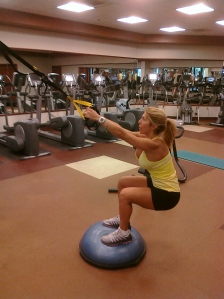 TRX Squats on the BOSU
